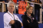 15 December 2012: New U.S. head coach Tom Sermanni (SCO) (left) with USSF director of women's soccer and interim head coach Jill Ellis (right) before the game. The United States Women's National Team played the China Women's National Team at FAU Stadium in Boca Raton, Florida in a women's international friendly soccer match.