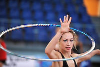 Irina Risenzon of Israel performs with hoop during trainings at 2010 Holon Grand Prix at Holon, Israel on September 2, 2010.  (Photo by Tom Theobald).