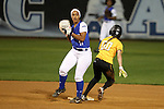 CHAPEL HILL, NC - FEBRUARY 24: Hampton's Daniella Milloy (left) forces Towson's Kendyl Scott (00) out at second base. The Hampton University Pirates played the Towson University Tigers on February, 24, 2017, at Anderson Softball Stadium in Chapel Hill, NC in a Division I College Softball match. Towson won 17-2 in a five inning run-rule game.
