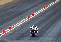 Jul. 18, 2014; Morrison, CO, USA; NHRA pro stock motorcycle rider Hector Arana Jr during qualifying for the Mile High Nationals at Bandimere Speedway. Mandatory Credit: Mark J. Rebilas-