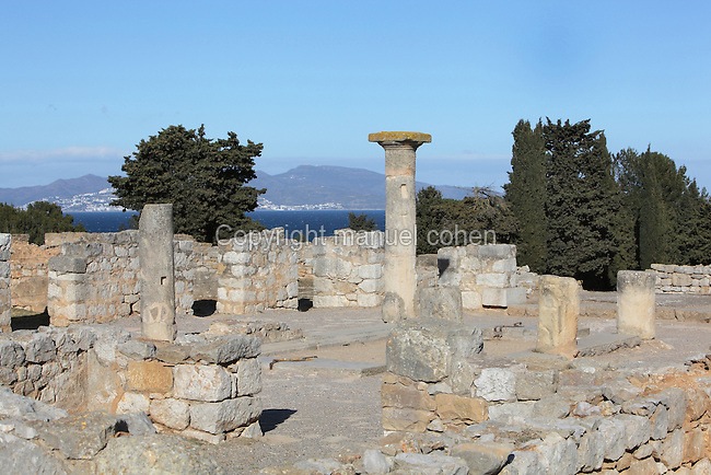 Domus, the largest house in the Roman city of Empuries, 1st century BC - 1st century AD, with the Mediterranean sea in the background, Sant Marti d´Empuries, Girona, Spain. Picture by Manuel Cohen