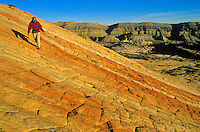 Hiking on Sandstone, the Coxcomb area of Grand Staircase-Escalante National Monument, Utah, AGPix_0050.