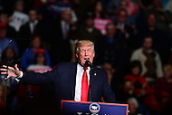 """Hershey, PA - December 15, 2016: President-elect Donald J. Trump speaks to supporters at a rally during his """"Thank You Tour"""" at the Giant Center in Hershey, PA, December 15, 2016.  (Photo by Don Baxter/Media Images International)"""