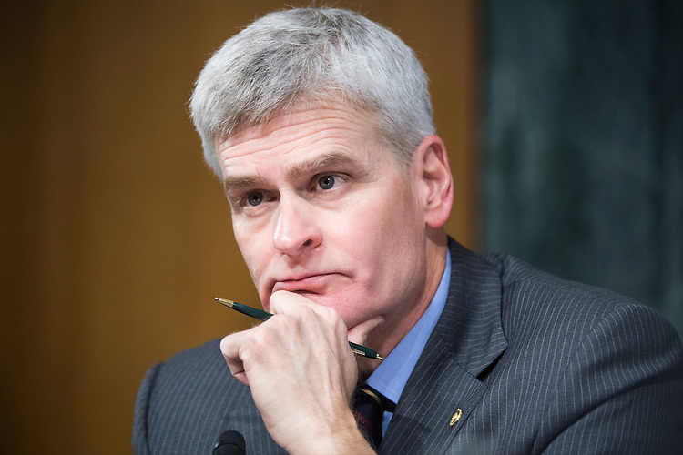 UNITED STATES - FEBRUARY 01: Sen. Bill Cassidy, R-La., listens to David Shulkin, nominee for Veterans Affairs secretary, testify during his Senate Veterans' Affairs Committee confirmation hearing in Dirksen Building, February 1, 2017. (Photo By Tom Williams/CQ Roll Call)
