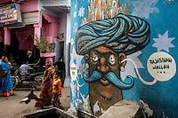 Graffiti on a wall in Pushkar town.  Rajasthan, India.