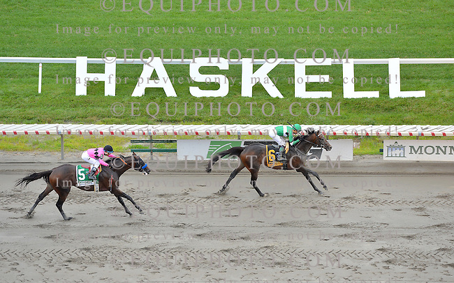 Exaggerator #6 with Kent Desormeaux riding, won the $1,000,000 Grade 1 betfair.com Haskell Invitational at Monmouth Park on Sunday July 31, 2016.  Photo By EQUI-PHOTO.