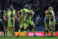 Sale Sharks players celebrate at the final whistle. Aviva Premiership match, between Leicester Tigers and Sale Sharks on February 6, 2016 at Welford Road in Leicester, England. Photo by: Patrick Khachfe / JMP
