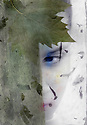 Mysterious feminine face concelaed by green. Mixed medium photograph.