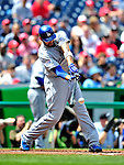 25 April 2010: Los Angeles Dodgers' center fielder Matt Kemp singles in the first inning against the Washington Nationals at Nationals Park in Washington, DC. The Nationals shut out the Dodgers 1-0 to take the rubber match of their 3-game series. Mandatory Credit: Ed Wolfstein Photo