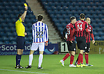 Kilmarnock v St Johnstone...06.12.14   SPFL<br /> Darryl Westlake is booked for bringing down Michael O'Halloran and conceding a penalty<br /> Picture by Graeme Hart.<br /> Copyright Perthshire Picture Agency<br /> Tel: 01738 623350  Mobile: 07990 594431