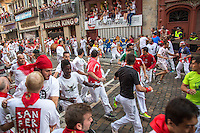 SAN FERMIN, ES JULY 8: Participants run with fighting bulls during the third day of the San Fermin Running of the Bulls festival in Pamplona, Spain on July 8, 2016.(Photo by VIEWpress/Maite Mateo)