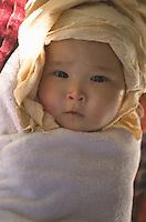 Little Tibetan girl after bath, Tsewang's daughter.