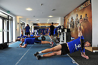 Bath Rugby players in the gym. Bath Rugby pre-season training on July 21, 2015 at Farleigh House in Bath, England. Photo by: Patrick Khachfe / Onside Images