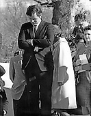 "Arlington, VA - (FILE) -- United States Senator Edward M. ""Ted"" Kennedy (Democrat of Massachusetts), the only surviving son of Joseph P. Kennedy and his wife, Rose, bows his head in a moment of prayer as he visits the grave of his two slain brothers, U.S. President John F. Kennedy and U.S. Senator Robert F. Kennedy (Democrat of New York) at Arlington National Cemetery in Arlington, Virginia on November 22, 1968..Credit: Arnie Sachs / CNP"