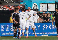 Eric Hassli of Whitecaps celebrates after scoring a goal during the game against Earthquakes at Buck Shaw Stadium in Santa Clara, California on April 7th, 2012.  San Jose Earthquakes defeated Vancouver Whitecaps, 3-1.