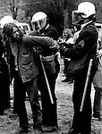 Anti war demonstrator is handcuffed by police May 1971, Opposition to the U.S. Involvement in the Vietnam War is significant because it was the first time a war was shown and accessed through to the public on television, Protests gained momentum from the Civil Rights Movements that had organized to oppose segregation laws,