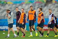 England manager Roy Hodgson leads Wayne Rooney and his team out to train