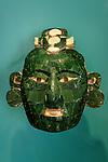 Teotihuacan style jade mask from Onkintok, Yucatan. Museo Maya de Cancun or Cancun Mayan Mayan Museum that opened in November 2012, Cancun, Mexico      .