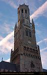 Belfort Bell Tower 1240, North Side at Sunrise, Market Square, Bruges, Brugge, Belgium