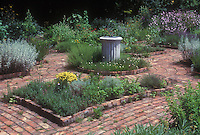 Formal herb garden, central focal point sundial, brick walkways, circular design, scene