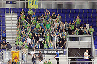 Seattle Sounders fans members of the Emerald City Supporters in section 220. The Seattle Sounders defeated the New York Red Bulls 1-0 during a Major League Soccer (MLS) match at Red Bull Arena in Harrison, NJ, on May 15, 2010.
