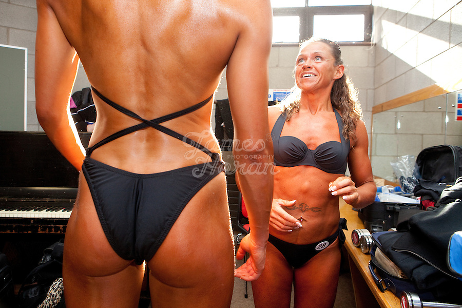 23/10/2010. Irish female physique and figure fitness national championships. Margaret Mc Grath right from Carlow is pictured talking to Ligita Kriksciunaite from Dublin backstage during the female figure fitness category as part of the 2010 RIBBF national bodybuilding championships at the University of Limerick Concert Hall, Limerick, Ireland. Picture James Horan.