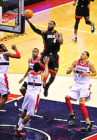 Lebron James of the Heat goes up for a layup. Miami defeated Washington 106-89 at the Verizon Center in Washington, D.C. on Friday, February 10, 2012. Alan P. Santos/DC Sports Box