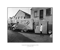 Picture of Loading Tayto Crisps at Tayto, Rathmines.31/01/1958..In 1954 Joe Spud Murphy began what is today's largest snackfood company with just two rented rooms off Moore Street, Dublin. Truly, a remarkable story of one man's determination, his initial set up costs ran to a grand total of &pound;500. The entire staff consisted of Joe, his eight employees and a single van...At the time Tayto crisps sold for 4 pence per bag! They were sold in beautiful tin boxes that contained 18 bags of crisps and sold to shops for 4 shillings. The crisps bags were hand-glued with a tiny paintbrush to guarantee that trademark Tayto freshness..Not many people realise that it was Joe Spud Murphy who actually invented the now world renowned Cheese &amp; Onion flavour- with a little input from Mr. Tayto, of course..Pioneering as always, Joe Murphy placed ads in the local newspapers which promoted the full list in the original Tayto range: Plain Golden, Onion, Cheese &amp; Onion and Cheese flavoured crisps..In 1954, Tayto sold 347 packs per day. Today, Tayto sells over 525 packs a minute!.