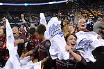 21 APR 2012:  Sarah DeMeo of the University of Alabama celebrates with teammates after winning the Division I Women's Gymnastics Championship held at the Gwinnett Center Arena in Duluth, GA. Alabama placed first with a team score of 197.850. Joshua Duplechian/NCAA Photos