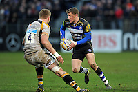 Rhys Priestland of Bath Rugby in possession. Aviva Premiership match, between Bath Rugby and Wasps on February 20, 2016 at the Recreation Ground in Bath, England. Photo by: Patrick Khachfe / Onside Images