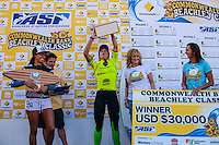 """DEE WHY, Sydney NSW/AUS (Saturday, April 21, 2012) Courtney Conlogue (USA), Layne Beachley (AUS) and Malia Manuel (HAW).  The Finals of the 2012 Commonwealth Bank Beachley Classic were completed today with Courtney Conlogue (USA) defeating Malia Manuel (HAW) for her first elite women's tour event win. Both finalist had never made it as far before in an ASP World Tour event. The surf was clean, with two-to-three foot (1.5 meter) waves on offer for the Top 17 female surfers in the world to battle for the richest prize purse on the ASP Womens World Championship Tour.. .Stop No. 4 of 7 on the 2012 ASP Womens World Championship Tour, the Commonwealth Bank Beachley Classic is run by seven-time ASP Womens World Champion Layne Beachley, and is in its seventh year.. .""""There are a lot of sevens in my life at the moment,"""" Beachley said. """"I'm so proud I've been able to run this event for seven years. I'm really appreciative of the Commonwealth Bank's support and am thrilled with the level of women's surfing. It's Finals day today. We've had a decrease in swell, but the girls are incredible at what they do and I'm sure they'll be able to put on a great show today. I'll be getting in the water later in the day for the celebrity challenge, and the Nikon Expression Session."""" .Manuel defeated Stephanie Gilmore (AUS) in the quarterfinals and Conlogue defeated Sally Fitzgibbons (AUS) also in the quarterfinals. Gilmore remains number one on the world tour ratings with Fitzgibbons in second place. Photo: joliphotos.com"""