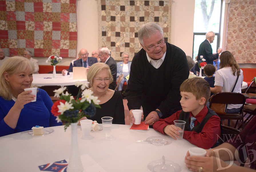 NWA Democrat-Gazette/BEN GOFF @NWABENGOFF<br /> Pastor Fred Nelson talks with church members and visitors on Sunday May 29, 2016 during a retirement reception for Nelson at United Lutheran Church in Bella Vista. Nelson was the pastor of the church for over five years before stepping down in 2009 to serve as interim pastor for other congregations. Nelson served his last day in the pulpit at United Lutheran earlier in May after returning to serve as interim pastor for the congregation over the past 18 months.