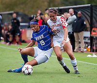 Erika Nelson (15) of Maryland fights for the ball with Kim DeCesare (19) of Duke at Ludwig Field on the campus of the University of Maryland in College Park, MD. DC. Duke defeated Maryland, 2-1.