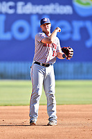 Hagerstown Suns shortstop Sheldon Neuse (16) during a game against the  Asheville Tourists at McCormick Field on May 13, 2017 in Asheville, North Carolina. The Suns defeated the Tourists 9-5. (Tony Farlow/Four Seam Images)
