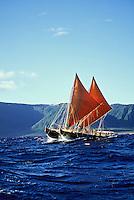 Polynesian voyaging canoe Hawai'iloa, Kalaupapa, north shore of Moloka'i.