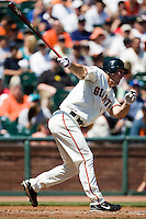 13 April 2008: #21 John Bowker of the Giants hits an homerun becoming the first San Francisco player to homer in his first two games during the San Francisco Giants 7-4 victory over the St. Louis Cardinals at the AT&T Park in San Francisco, CA.