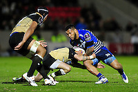 Johnny Leota of Sale Sharks takes on the Montpellier defence. European Rugby Challenge Cup quarter final, between Sale Sharks and Montpellier on April 8, 2016 at the AJ Bell Stadium in Manchester, England. Photo by: Patrick Khachfe / JMP