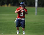Quaterback Jeremiah Masoli (8) runs a drill as the University of Mississippi began football practice on Sunday, August 8, 2010.