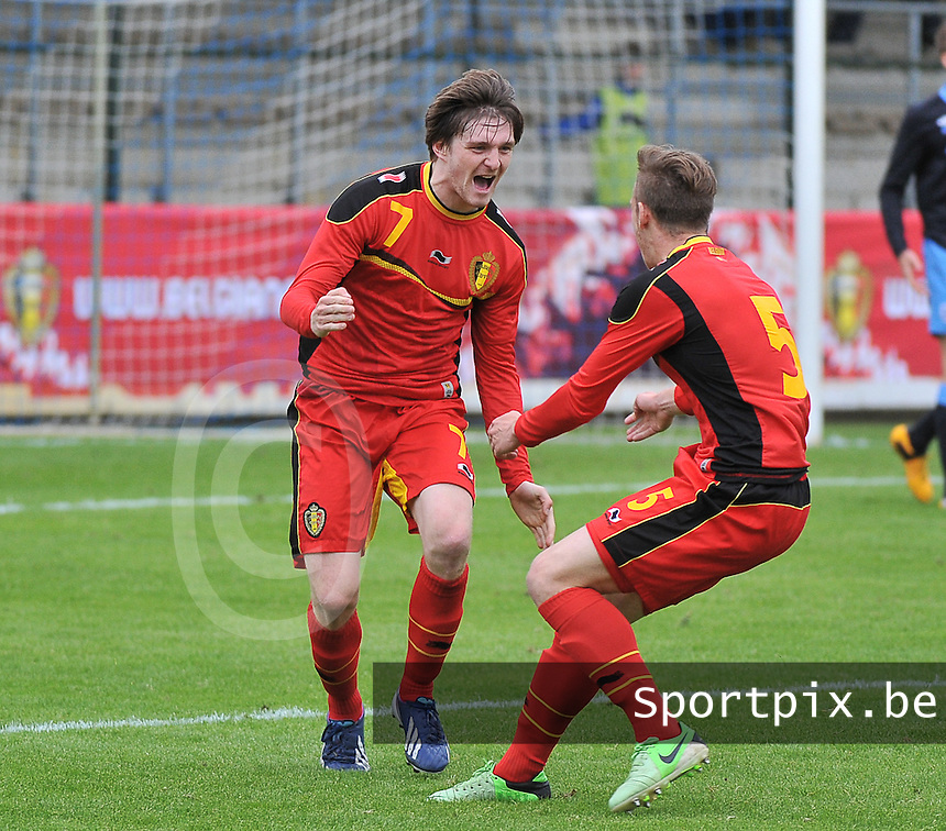 Belgium U19 - England U19 : Thomas Foket (7) celebrates his goal for Belgium 1-0.foto DAVID CATRY / Nikonpro.be