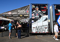 Nov 11, 2016; Pomona, CA, USA; The car hauler trailer for the dragster of NHRA top fuel driver Antron Brown during qualifying for the Auto Club Finals at Auto Club Raceway at Pomona. Mandatory Credit: Mark J. Rebilas-USA TODAY Sports