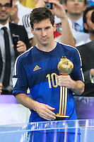 Lionel Messi of Argentina with his Golden Ball trophy