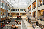 February 18, 2015. Winston Salem, North Carolina.<br />  The atrium of Wake Forest Biotech Place, which houses private companies as well as Wake Forest University research labs. To allow light into the massive building during the renovation, the atrium was cut through the existing floors, allowing for skylights and an open center.<br /> The Wake Forest Innovation Quarter, encompassing 145 developable acres, is an inner city development project focusing on biomedical sciences and information technology. The project is a collaboration between the city of Winston Salem, a private developer and Wake Forest University.The newest building in the $500 million project is a $50 million education building for the university's medical school. Many professional firms have moved into offices in the various buildings of the Innovation Quarter as the city shifts from a tobacco town to one of technological advancement.