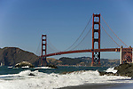 San Francisco: Baker Beach with Golden Gate Bridge in background.  Photo # 2-casanf83337.  Photo copyright Lee Foster