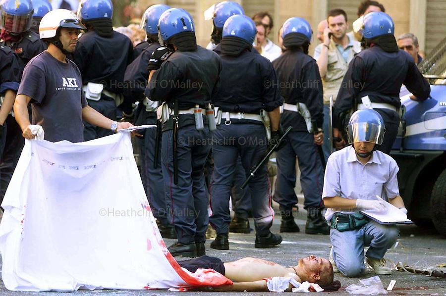 Protestor Guilliani Guilliano,shot dead by Carabineri during the G8 riots in genova.