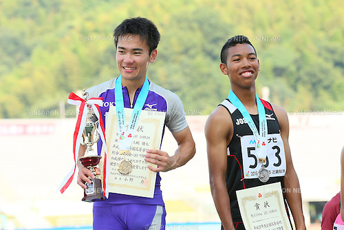 (L to R) <br /> Kenta Oshima (), <br />   Abdul Hakim Sani Brown (), <br /> JULY 30, 2015 - Athletics : <br /> 2015 All-Japan Inter High School Championships, <br /> Men's 100m Award Ceremony <br /> at Kimiidera Athletic Stadium, Wakayama, Japan. <br /> (Photo by YUTAKA/AFLO SPORT)