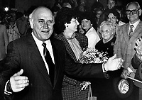 President FW de Klerk arrives back from an overseas trip and is greeted by well wishers.