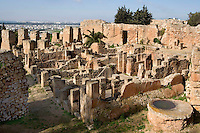 General view of Punic houses with oven in the foreground, Byrsa Hill, Carthage, Tunisia, pictured on January 28, 2008, in the morning. Carthage was founded in 814 BC by the Phoenicians, according to legend. The Phoenicians and Romans fought three Punic Wars over the this immensely important Mediterranean harbour. Their most famous generals were the Phoenician Hannibal (247-c.183 BC) and Scipio Africanus (235-183 BC) who led the Romans in the 2nd Punic War. The Romans finally conquered and destroyed the original city in 146 BC. Soon another city was built in its place, whose ruins are still to be seen. Picture by Manuel Cohen.