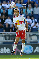 Red Bulls midfielder Rafael Marquez (4) heads the ball...Sporting Kansas City defeated New York Red Bulls 2-0 at LIVESTRONG Sporting Park, Kansas City, Kansas.