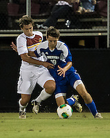 Winthrop University Eagles vs the Brevard College Tornados at Eagle's Field in Rock Hill, SC.  The Eagles beat the Tornados 6-0.  Caleb Hall (19) and Nick Nova (6) contest the ball.