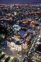 Bellas Artes, the Mexico City Opera House seen from the top of the Torre Latino at night.  Mexico DF, September 3, 2008